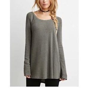 Loose Long Sleeved Dress/Top in Olive Green